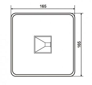 Nákres dna laminátové nádrže pro ryby 165 * 165 * 90 cm